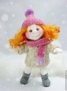 Коллекционные куклы ручной работы. Ярмарка Мастеров - ручная работа. Купить Рыжий зимний ангелочек и Снежок. Handmade. Рыжий, куколка