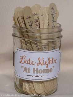 "Date night doesn't happen as often as it should when you have little one's at home. But, with these 30 ""at home"" date night ideas that are easy and inexpensive you can get back on track. For a spontaneous date take turns drawing a stick from the jar to decide what your date night will be! by mimilife"