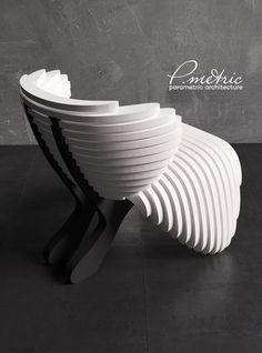 parametric chair on Behance Bench Furniture, Funky Furniture, Affordable Furniture, Furniture Design, Diy Cardboard Furniture, Showroom Design, Futuristic Furniture, Contemporary Chairs, Cafe Chairs