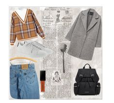 """old school"" by iwatoke ❤ liked on Polyvore featuring Levi's, MANGO, Yves Saint Laurent and Burberry"