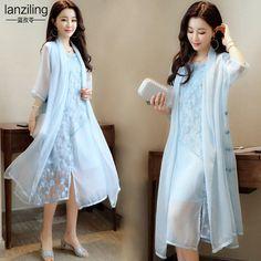 중국 여성의 국가 바람 자수 플레이트 버튼 요정 여름 스커트는 얇은 쉬폰 투피스 드레스 정장 드레스였다