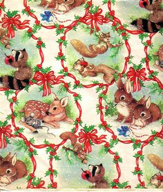 Christmas Gift Wrapping Paper | Vintage gift wrap with all the creatures of the forest.