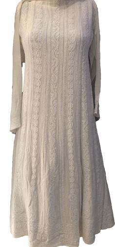 Lucknowi Chikankari Long Anarkali Online Semi-Stitched Kurti Pure Georgette White on White with very fine chikankari murri & shadow work on both front & back with designer daaman & Full Embroidered Sleeves $203.5