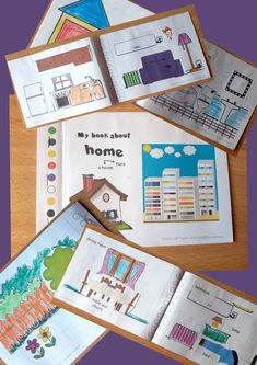 Kids make their own booklet about rooms of the house, furniture and objects. Different versions are available. Use in coloring activities, cut and paste activities or labelling activities. Colour and black and white options are included. Literacy Stations, Literacy Skills, Fun Games, Games For Kids, Folding House, Peace At Last, Sequencing Cards, Small World Play, Paper Fans