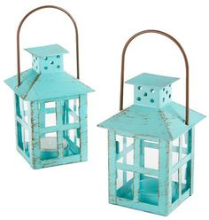 Kate Aspen Vintage Blue Lantern - Set of 6