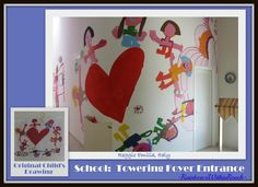 The two story foyer of one of the new early childhood buildings in Reggio Emilia: A child's drawing has been ENLARGED by professional artists across the two story entrance. If you look closely in the large photo above, just below the large heart, to the right is the original child's drawing taped to the wall for comparison