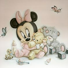 Baby zimmer - Zimmer ideen Baby room Baby room The post Baby room appeared first on Room ideas. Tatty Teddy, Baby Girl Room Decor, Girl Nursery, Room Baby, Baby Rooms, Mickey Mouse Wallpaper, Disney Wallpaper, Scrapbook Disney, Disney Babys