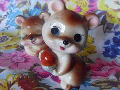 Pair of Kitsch Vintage Woodland Animal Figurines c. 1960. £8.00, via Etsy.
