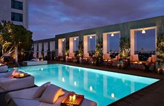 Rooftop Pool at Mondrian Los Angeles (West Hollywood, Calif.) from The 30 Best Hotel Pools in America – Rooftop Garden Hotel Rooftop Bar, Restaurant Hotel, Best Rooftop Bars, Rooftop Pool, Hotel Pool, Swimming Pool Designs, Swimming Pools, Piscina Hotel, Rooftop Design