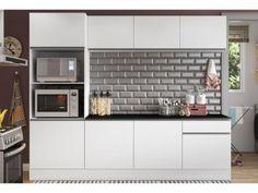 Cozinha Compacta com Balcão Multimóveis Linea - Nicho para Forno Micro-ondas 8 Portas 1 Gaveta  Vai perde esse produto com 60% de desconto!