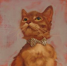 """Bow Tie Beauty,"" oil on wood, 8"" x 8""  by Diane Hoeptner, image links to blog."