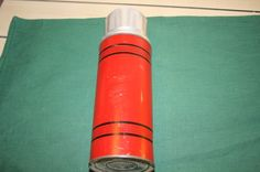 """VINTAGE RED """"ICY HOT"""" THERMOS WITH CORK STOPPER FREE US SHIPPING"""