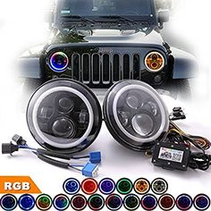 """Amazon.com: COWONE 7"""" Round LED RGB Headlights DRL Headlamp with EMC for Jeep Wrangler TJ CJ JK Hummer H1 H2 Land Rover Colorfull Angel Eye Halo Ring Controlled by Bluetooth (2 PCS): Automotive"""
