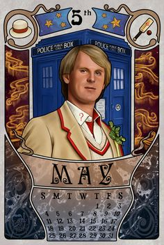 May month for the doctor who 2014 calendar with Peter Davison as the doctor. 5th Doctor by boop-boop.deviantart.com on @deviantART