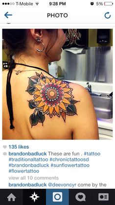 Found this on IG. Traditional sunflower tattoo.