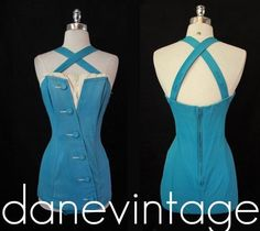 LOVE LOVE LOVE Vtg 50s Catalina PiNuP Bombshell STRAPPY Bathing SWIM Suit MadMen M/L