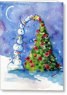 Snowman Christmas Tree Greeting Card by Sylvia Pimental