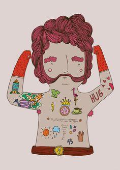"Illustrations serie ""Bears Tattoo"" by Herbert Loureiro"