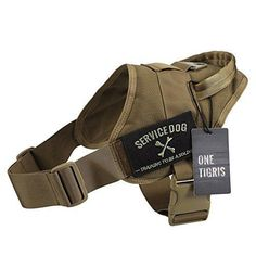 OneTigris Tactical K9 Training Vest Adjustable Service Dog Harness (Large Coyote Brown)