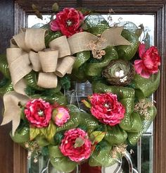 BURLAP and FLOWERS SPRING Deco Mesh Wreath by decoglitz on Etsy