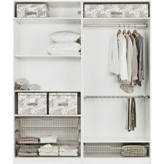 IKEA PAX Wardrobe with interior organizers, white, Risdal medium gray (57.755 RUB) ❤ liked on Polyvore featuring home, home improvement, storage & organization, furniture and interior