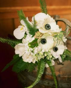 Fresh ivory and emerald wedding bridal bouquet by Teresa Sena Design -- Anna Kim Photography