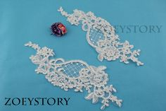 Alencon Lace Applique, Corded Lace Applique, Ivory Embroidery Lace, Bridal Lace Applique, Sell By Pair (AL048)  ♥This listing is for 1 Mirror Pair = 2