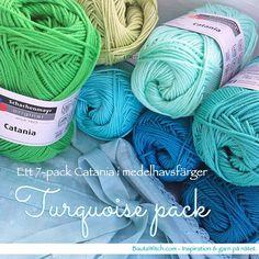 Dröm dig till Medelhavet medan du virkar på ditt nästa projekt! ☀️ NYHET i webbshoppen - Catania Turquoise pack! Ett 7-pack Catania i medelhavsfärger till ett extra förmånligt pris. http://BautaWitch.com PS. Jag ser framför mig en vacker pläd i mormorsränder eller -rutor i dessa vackra färger! Eller varför inte en roadtrip-sjal?! #garn #virka #virkat #bautawitch #catania