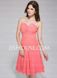 Bridesmaid Dresses - $99.99 - A-Line/Princess Sweetheart Knee-Length Chiffon Bridesmaid Dress With Ruffle (007026193) http://jjshouse.com/A-Line-Princess-Sweetheart-Knee-Length-Chiffon-Bridesmaid-Dress-With-Ruffle-007026193-g26193