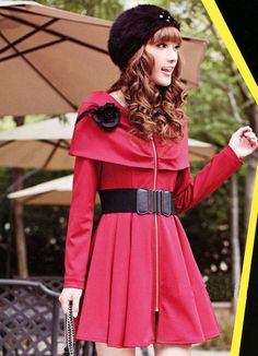 Cape Pattern Red Zipper Long Sleeve Dresses  Item Code:#GLD65B-3711+Red  Price: US$12.10  Shipping Weight: 0.5KG