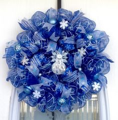 Blue/White/Silver Deco Mesh Winter Wreath with White & Silver Snowflakes, Blue Ornaments & Snowman