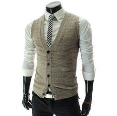 TheLees (GV01) Mens Casual Slim Fit 5 Button Knit ($32.99)