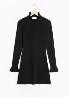 Frilled Knit Dress - Black - & Other Stories