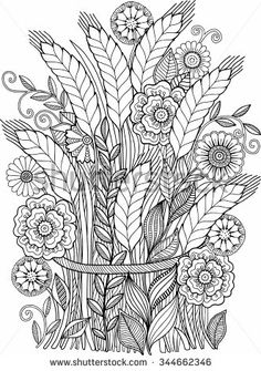 Vector coloring book for adult. Summer flowers. Ears sheaf Davlin Publishing #adultcoloring