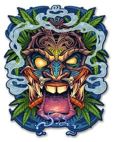 Tiki Head Metal Sign 13 x 17 Inches Totem Tattoo, Tiki Tattoo, Tiki Maske, Graffiti, Tiki Head, Tiki Art, Stoner Art, Vintage Metal Signs, Arte Horror