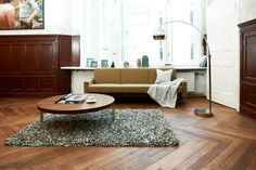 This herringbone flooring shows the character and variety of the wood beautifully
