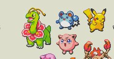 Here's a bunch of cool pokémon bead patterns! You can export easy to follow bead templates of these! #beads #pokemon