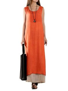 Vintage Loose Solid Layered Sleeveless Elegant Split Women Maxi Dress