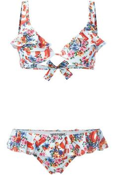 She wore an itsy, bitsy, teeny-weeny, floral-printed, flirty bikini.Moschino Swim Floral and Traffic Cone Print Bikini, $395, available at Farfetch. ...