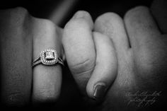 intimate hands, pinky promise engagement portrait. Beautiful vintage wedding ring.