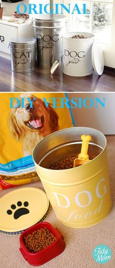 DIY:Old popcorn containers spray painted for dog food storage.We don't need it for dog food storage, but it would be great for things like bagged rice, beans and flour. Pedigree Dog Food, Food Canisters, Pet Food Storage, Diy Storage, Storage Ideas, Organization Ideas, Storage Bins, Storage Solutions, Decorative Storage