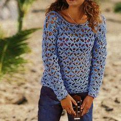 Schemi uncinetto per creare un pullover traforato | Pour Femme