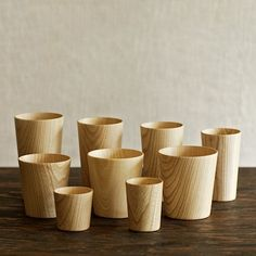 "$498 ""Handcrafted at the Takahashi Kougei wood workshop in Hokkaido. These Kami wood cups are made of castor aralia wood from Hokkaido, shaped down to a thickness of 2 mm, which allows light to glow through but remains thick enough for durable insulation. This 9-piece enthusiast's set can be put on display or used in your everyday life."" Bri would love these"