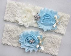 KAI STARFISH Wedding Garter Light Blue by HannabellaDesigns