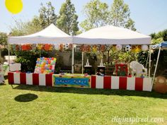 Could make some of the booths look like this more in a pirate theme. Using the tents is a great idea!! Carnival Theme or Circus Theme Party