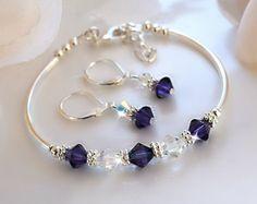 Items similar to Wedding/Birthstones/Cobalt Blue Swarovski Crystal Bracelet and Earring Set on Etsy Bead Jewellery, Wire Jewelry, Jewelry Crafts, Wedding Jewelry, Jewelry Sets, Jewelry Bracelets, Handmade Jewelry, Crystal Bracelets, Crystal Jewelry