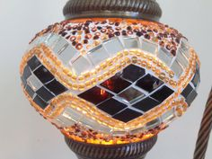 Kilim Design Mosaic Lamp With Vintage Look Bronze Plated Base, Bedside night lamp - Sophie's Bazaar  - 1