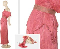 1012: Fortuny Antique Pink Peplos Gown and Box : Lot 1012