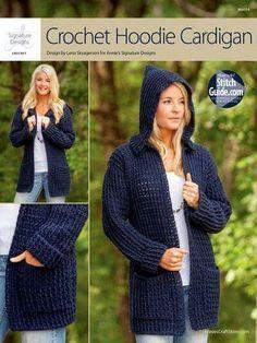 Crochet Hoodie Cardigan Free Pattern ༺✿ƬⱤღ http://www.pinterest.com/teretegui/✿༻