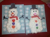 cotton ball snowman - perfect preschool or toddler craft
